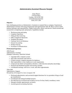 sample resume administrative assistant and receptionist on pinterest