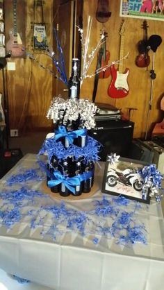 Adult Party Centerpiece With Budlight Beer Bottle Party