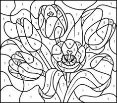 hard color by number worksheets rose printable color by number
