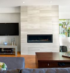I Like This Wall Contemporary Small Fireplace Offset Tv With Wood Panels Behind For The Home
