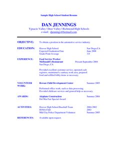 example of a high school student resume resumes for high school