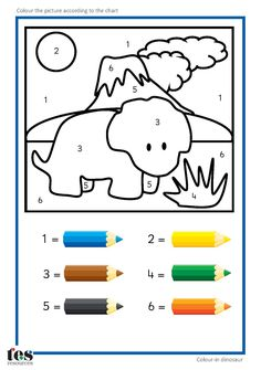 simple colour by numbers dinosaur pictures with clear visuals each