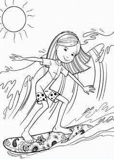 surfers surfer girls and coloring pages on pinterest