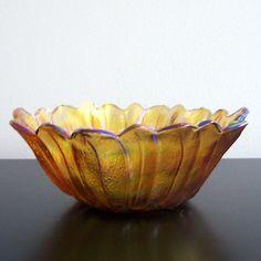 Vintage Green Glass Flower Bowl 10 Green Glass