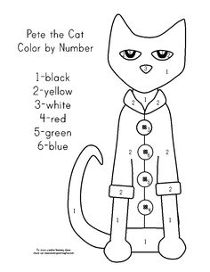worksheets free cat and color by numbers on pinterest