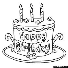 coloring thecolor com color images happy birthday cake online coloring