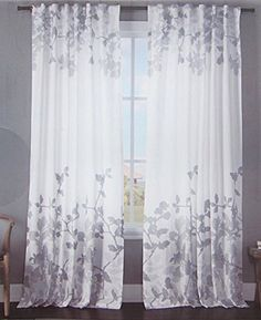 DKNY City Vine Window Curtain Panels Set Of 2 Drapes PAIR Branches TEAL GREY 96 Window
