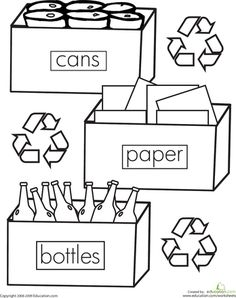 recycling colouring pages and logos on pinterest