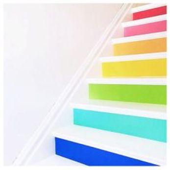 Crushing on these rainbow stairs from @megduerksen's craft house! So fun!