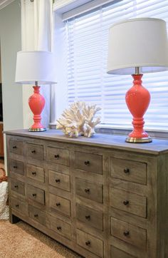 bureau chest of drawers w quot coral quot decor piece and bright lamps from - Lamp Bureau Ado