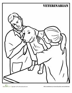 coloring pages printable coloring pages and veterinarians on