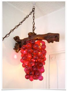 Vintage Grape Cluster Swag Hanging Light Lamp Lucite Resin