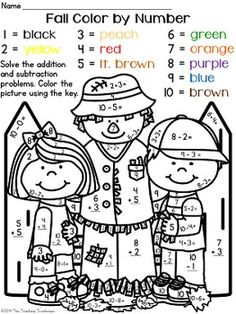 color by numbers numbers and addition worksheets on pinterest
