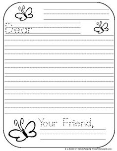 letter writing paper for first grade