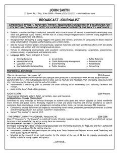 Resume sample for journalist
