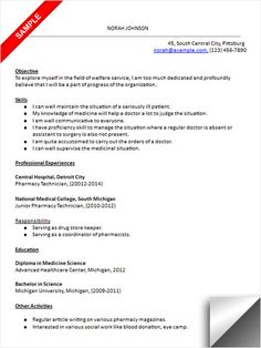 pharmacy technician resume and pharmacy on pinterest
