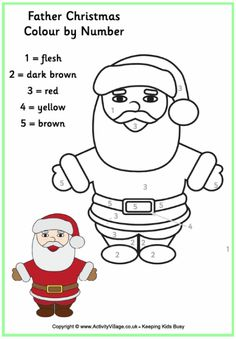 colour by numbers father christmas more
