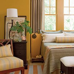 A cheery bedroom wit