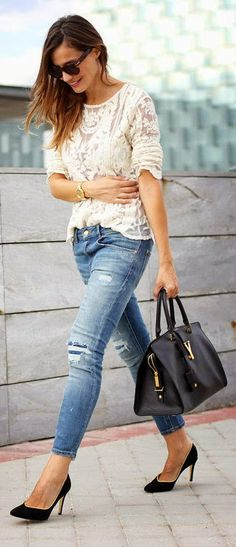 Everyday New Fashion: Jeans  Brocade Top #fashion #beautiful #pretty Please follow / repin my pinterest. Also visit my blog http://easyvegetarianmeals.org/