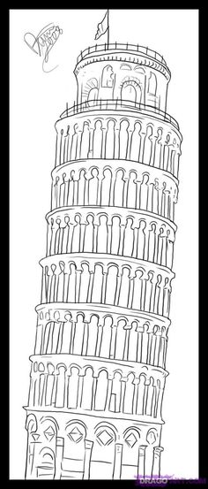 Coloring Leaning Tower Picture Pisa