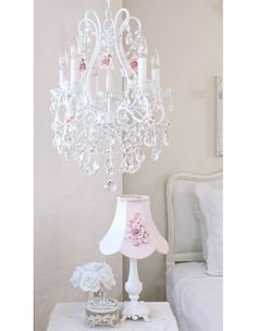 Fairytale Empire Chandelier With Pink Crystals And Roses Lighting Chandeliers Pinterest Room