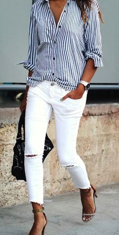 white jeans and stri