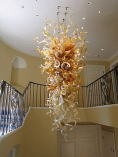 Dale Chihuly Royal Gold And Clear Chandelier