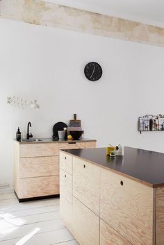 Plywood kitchen unit