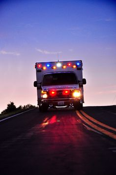 Ambulance in action at night