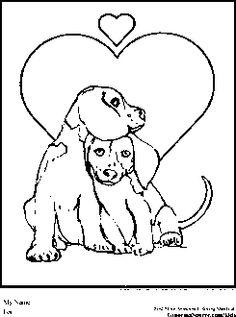 Kids' Korner Free Coloring Pages - Valentine Puppy Love | 317x236