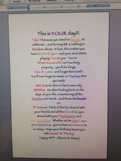 40th Birthday Candy Bar Poem Can Use It For 30 40 50