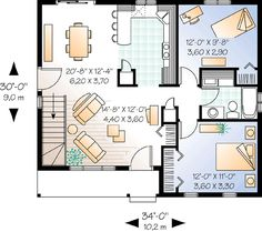Plan 21040dr 2 Bedroom Ranch With Carport