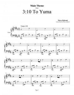 Piano Sheet Music For The Ost Of To Yuma Composed By Marco Beltrami This Is Main Le Track Enled A Composition That Easy