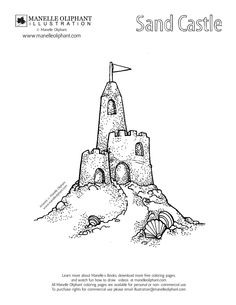 sandcastle coloring page vacation pinterest coloring pages