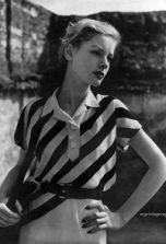 Lauren Bacall Cute Outfits - diagonal striped blouse