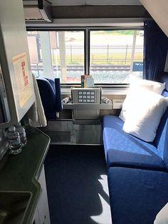 Bedroom On Amtrak Superliner Bathroom Shower Is Around Corner Left Above Blue