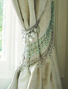 Necklaces as curtain tie backs | 31 Home Decor Hacks That Are Borderline Genius