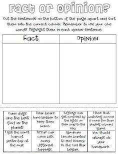 Fact Amp Opinion Worksheet I Used It To Create A Form