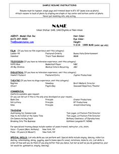 child actors resume and sample resume on pinterest