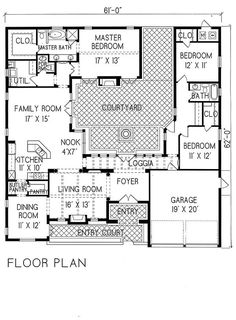 Spanish Style Courtyard House Plan Sq Ft 1 Story 3 Bed Bath 2 Car Garage I Don T Usually Go For This But Like The