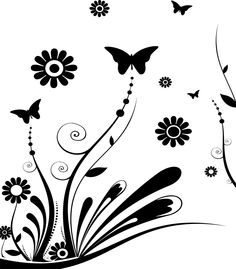 black and white print with large white flower wall decal at allposters