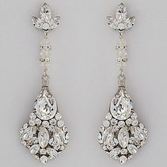Bridal Chandelier Earrings Art Deco Style Crystal Accessories Wedding Jewelry Emily White Dresses
