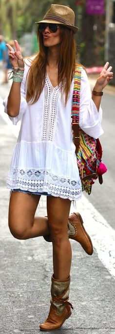 Kuka & Chic White Women's Crochet Detail Embroidered Loose Tunic by Like A Princess Like.... Kuka
