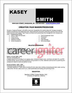 resume film and resume examples on pinterest