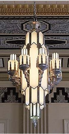 A Majestic Art Deco Chandelier In The Pacific Building Texas