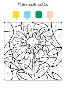 Ausmalbild Malen nach Zahlen: Sonnenblume ausmalen kostenlos ausdrucken