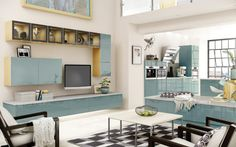 Esker Azure Gloss Kitchen Furniture And