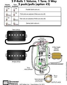 Seymour Duncan PRails wiring diagram  2 PRails, 1 Vol, 3 Way & onoffon Mini Toggle | Tips