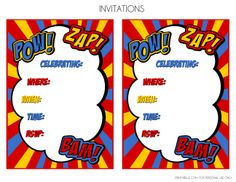 Superhero Birthday Invitation Templates. superhero invitations ...