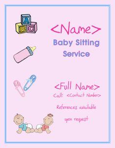 Babysitting Template. free leaflets flyers ideas samples ...